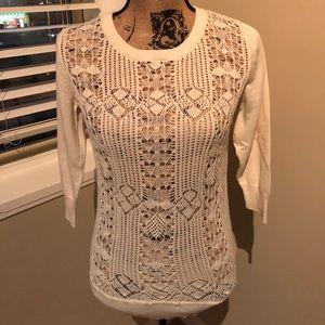 Crochet front 3/4 length sleeve sweater