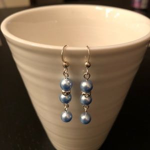 🌸Sterling Silver Earrings with powder blue pearls