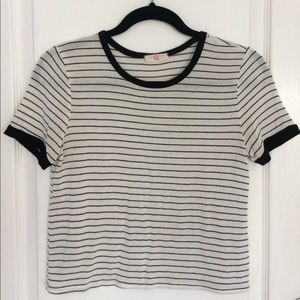 white ringer tee with black stripes