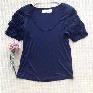 Gorgeous fringed sleeves Zara black top