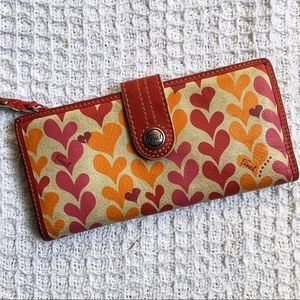 Fossil Leather Heart Checkbook Wallet
