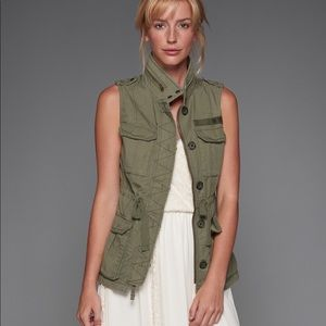 Abercrombie & Fitch green military twill vest