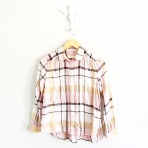 LOFT Pink Plaid Flannel Softened Button Down Shirt
