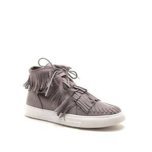 Shoes - Gray Fringe Sneakers