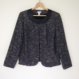 Chico's size 2 tweed blazer jacket Ruffle black
