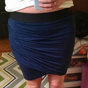 NWT Asymmetric Navy Bandaid Skirt w. Black Band