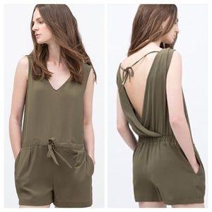 Zara Olive Green Short Jumpsuit / Romper