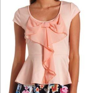 Charlotte Russe blush pink peplum blouse