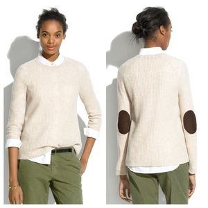 Madewell Wool sweater with leather Patches.