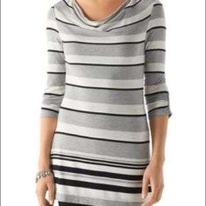WHBM gray and black striped tunic
