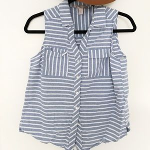 Soft striped blue/ white colored top sleeveless