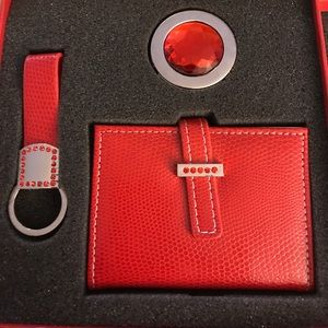 NWT Accessory set with red rhinestones