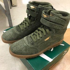 Puma high top suede sneakers