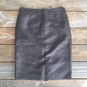 J. Crew // Textured Brown Metallic Pencil Skirt