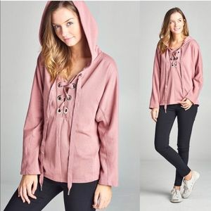 Hoodie lace up sweatshirt pink mauve blush