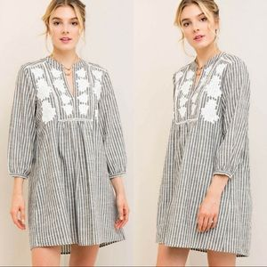 🆕Striped Baby-Doll Dress w/ Floral Embroidery