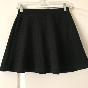 Black textured skater skirt