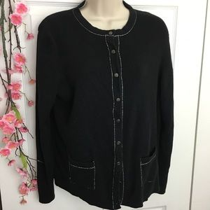 Sweaters - Black Cardigan with Silver Accent