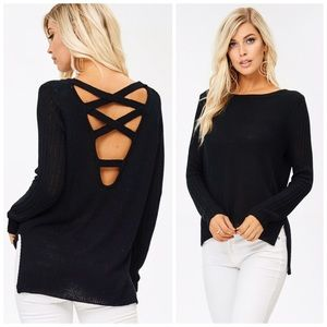 PREORDER Stunning Crossover Lace Up Back Sweater!