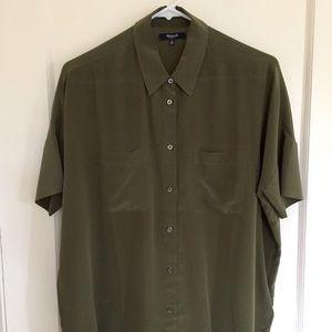 Madewell Boxy Silk Courier Shirt XS