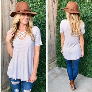 Tops - Striped cross front ribbed Tunic