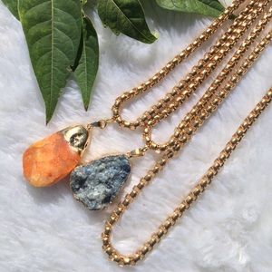 🍂NEW🍂•Unisex•Blue Calcite & Gold Tone Rope Chain
