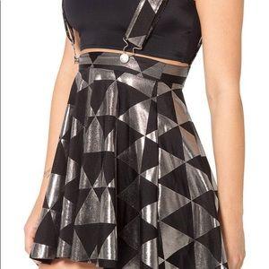 Blackmilk Triangle Silver Pinafore Skater Skirt