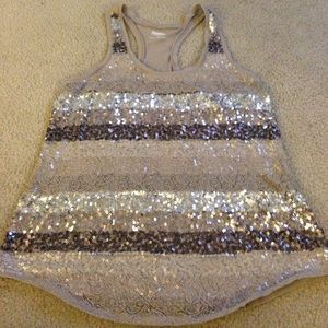 Express size large lace and sequin racer back tank