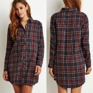 F21 • button down flannel dress