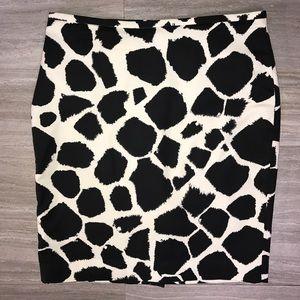 Loft Giraffe Print Midi Skirt Black Cream