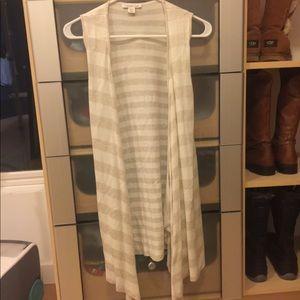 Neutral Striped Sleeveless Cardigan