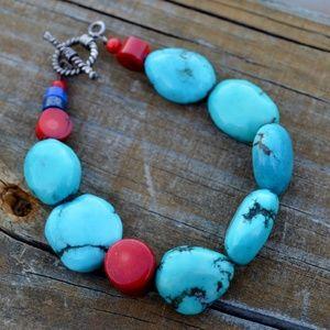 Jewelry - Southwestern Gemstone Turquoise Toggle Bracelet
