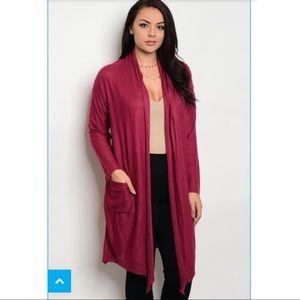 Sweaters - Burgundy Plus Size Cardigan 💕BOGO 30% OFF💕