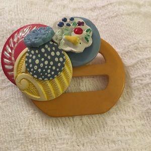 Huge artisan brooch made of vintage buttons buckle