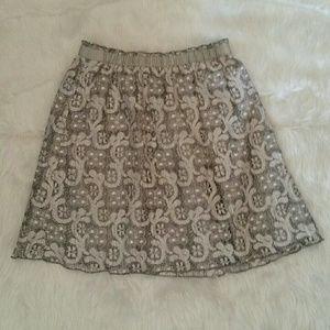 J Crew Gray Heather Lace Skirt