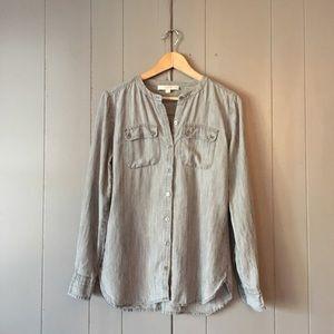 Loft Gray Washed Chambray Linen Tunic 🍃