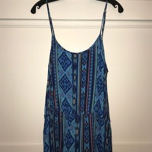 Forever 21 blue orange Spaghetti strap sundress L