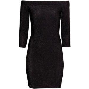 H&M off shoulder black shimmer dress