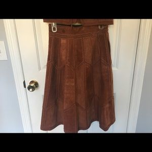 "Vintage Leather Skirt Brown Patchwork 28"" waist"