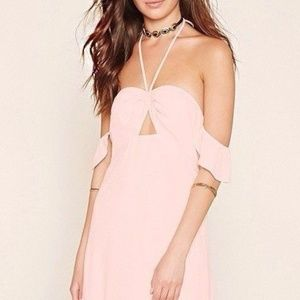 New forever 21 off shoulder slit maxi dress halter
