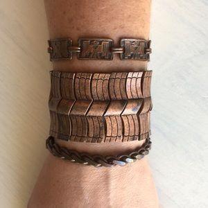 Boho Tribal Bead Copper Tone Bracelet Bangle Set