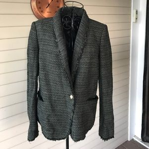 Zara Green Tweed One Button Blazer