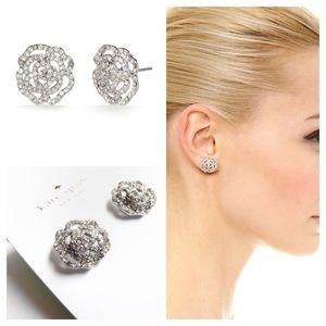 Kate Spade Pavé Rose Stud Earrings Silver Tone
