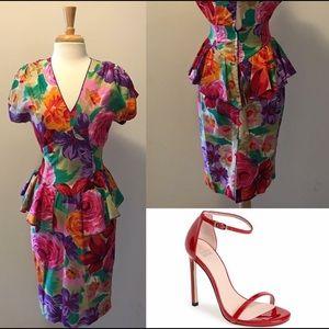 Vintage Floral Peplum Dress