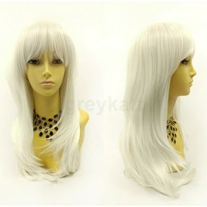 White long straight wig with bangs