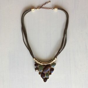 Boho Statement Soft Choker Necklace Gold Beaded