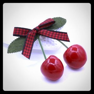 🍒 Pin up style Cherry/ ribbon bow Hair Clip 🍒