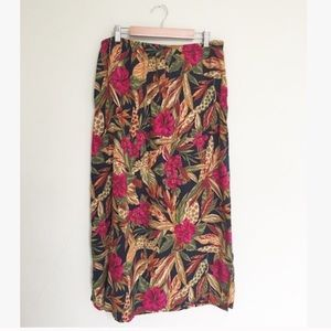Vintage Tropical Floral Midi Skirt