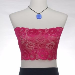 Other - Fuchsia Pink Stretchy Lace Tube Bandeau