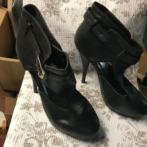 Women's black ankle strap heels